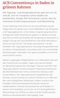 ACB Convention4u in Baden in grünem Rahmen